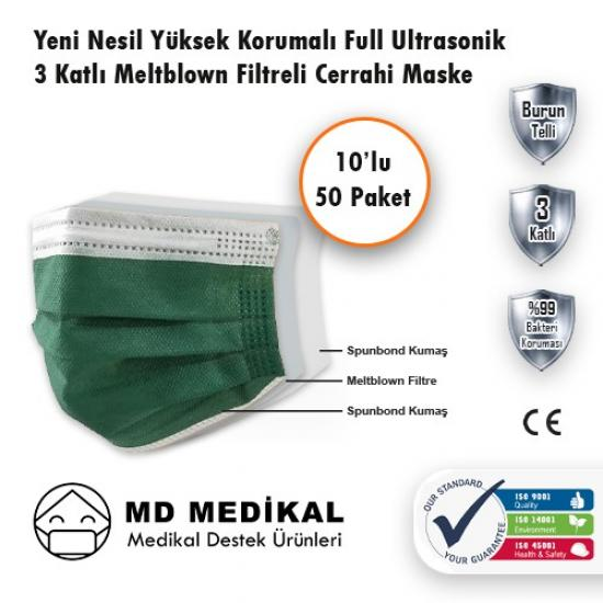MD Medikal 3 Katlı Haki Telli Maske 10'lu x 50 Adet