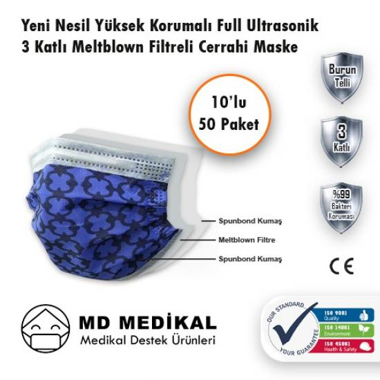 MD Medikal 3 Katlı Lacivert Zincir Telli Maske 10'lu x 50 Adet